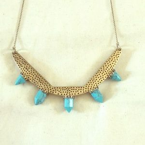 Madewell Turquoise and Gold Statement Necklace